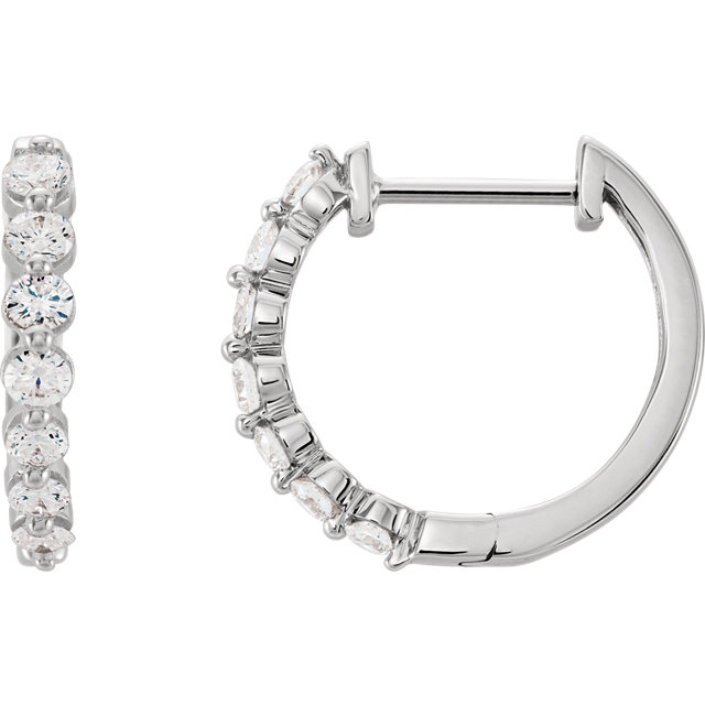 Chic 14 Karat White Gold 0.50 Carat Total Weight Diamond Hoop Earrings