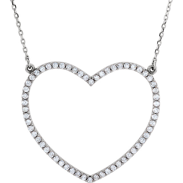 Jewelry Find 14 KT White Gold 0.50 Carat TW Diamond Large Heart 16