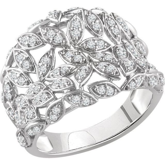 Genuine  14 Karat White Gold 0.50 Carat Diamond Leaf Ring