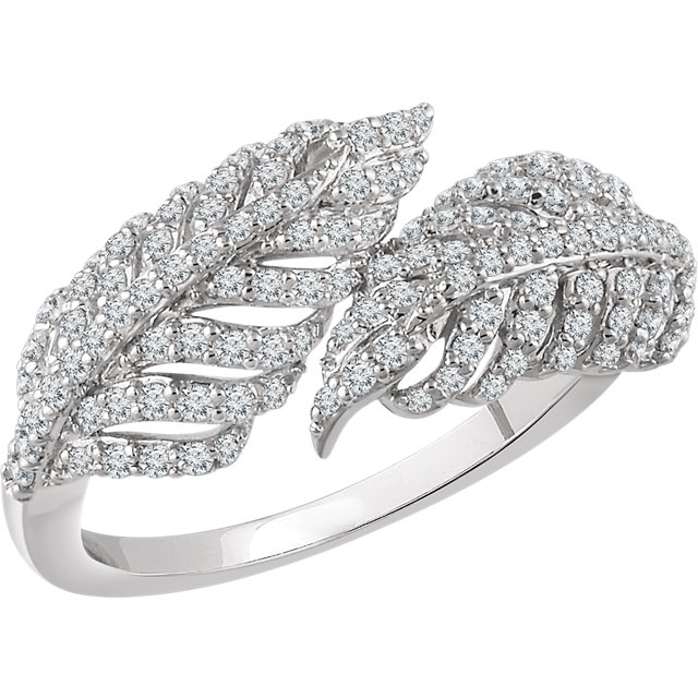 Appealing Jewelry in 14 Karat White Gold 0.50 Carat Total Weight Diamond Leaf Ring