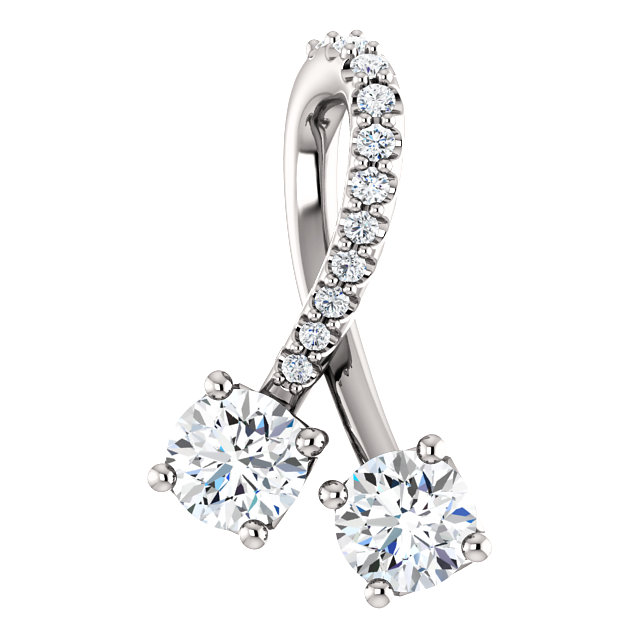 Surprise Her with  14 Karat White Gold 0.50 Carat Total Weight Diamond Pendant