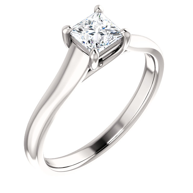 Contemporary 14 Karat White Gold 0.50 Carat Total Weight Diamond Woven Solitaire Engagement Ring