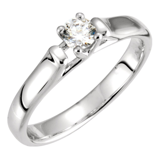 Perfect Gift Idea in 14 Karat White Gold 0.50 Carat Total Weight Diamond Solitaire Engagement Ring
