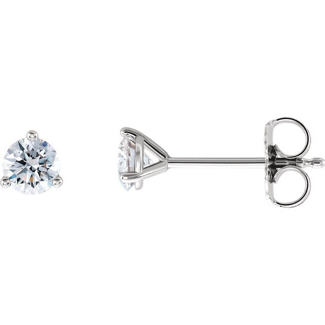 Quality 14 KT White Gold 0.50 Carat TW Lab-Grown Diamond Stud Earrings