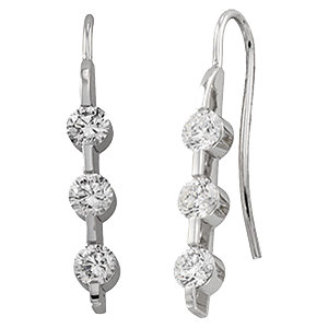 Great Buy in 14 Karat White Gold 0.40 Carat Total Weight Diamond 3 Stone Earrings