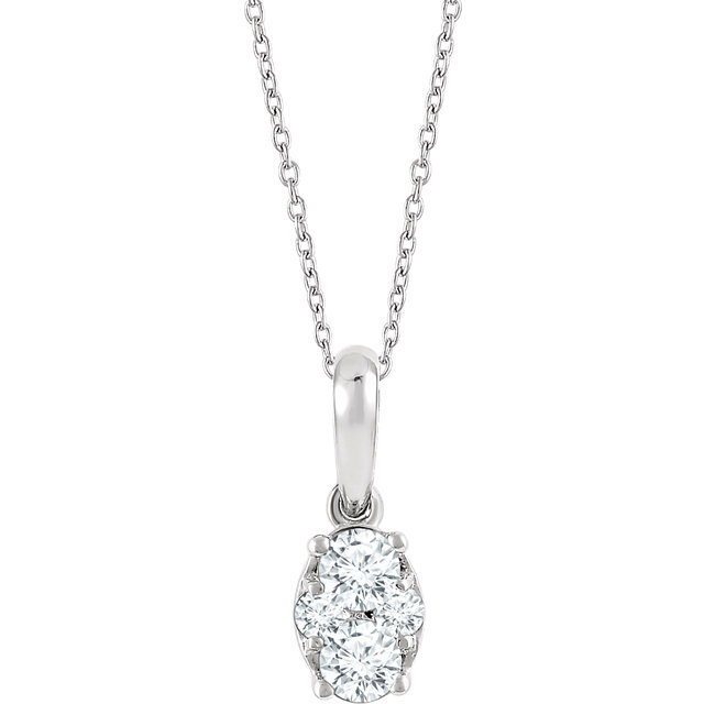 Great Gift in 14 Karat White Gold 0.33 Carat Total Weight Diamond 16-18