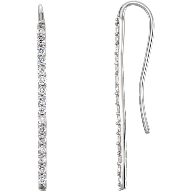 Wonderful 14 Karat White Gold 0.33 Carat Total Weight Diamond Bar Earrings