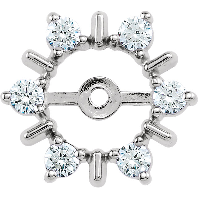Easy Gift in 14 Karat White Gold 0.33 Carat Total Weight Diamond Earring Jackets