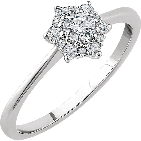14 KT White Gold 1/3 Carat TW Diamond Flower Ring