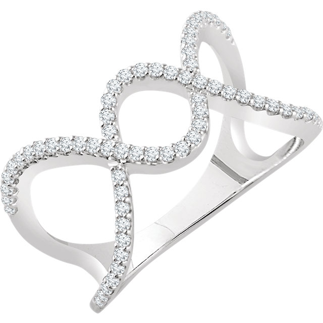 14 Karat White Gold 0.33 Carat Diamond Freeform Ring