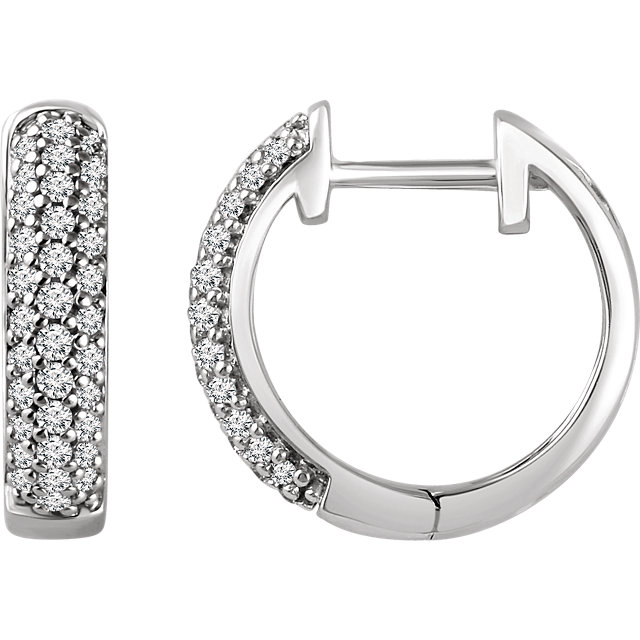 Captivating 14 Karat White Gold 1/3 Carat Total Weight Diamond Hoop Earrings
