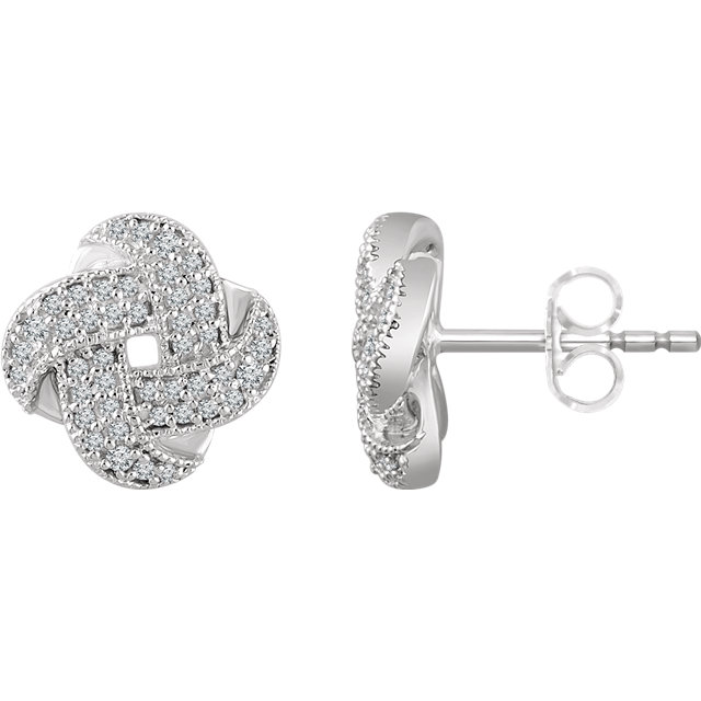 Surprise Her with  14 Karat White Gold 0.33 Carat Total Weight Diamond Knot Earrings