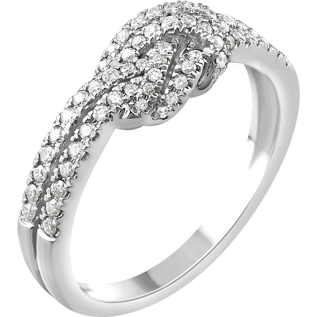 14 Karat White Gold 0.33 Carat Diamond Knot Ring