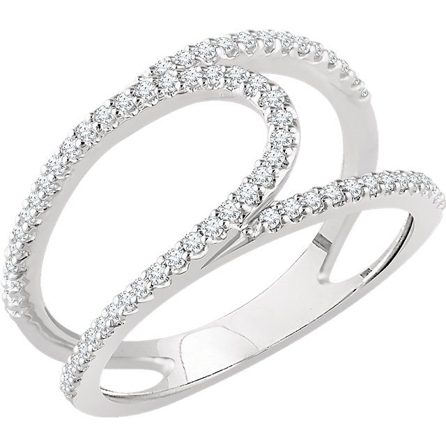Perfect Gift Idea in 14 Karat White Gold 0.33 Carat Total Weight Diamond Negative Space Ring