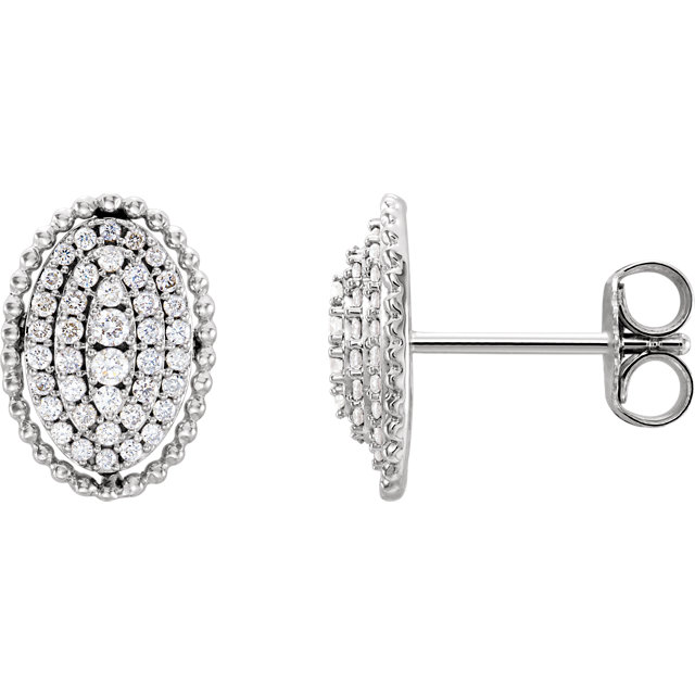 Contemporary 14 Karat White Gold 0.33 Carat Total Weight Diamond Oval Cluster Earrings