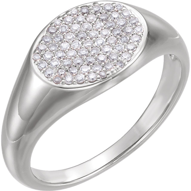 Stylish 14 KT White Gold 1/3 Carat TW Round Genuine Diamond Pave Ring