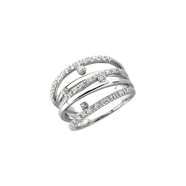 Great Gift in 14 Karat White Gold 0.33 Carat Total Weight Diamond Right Hand Ring