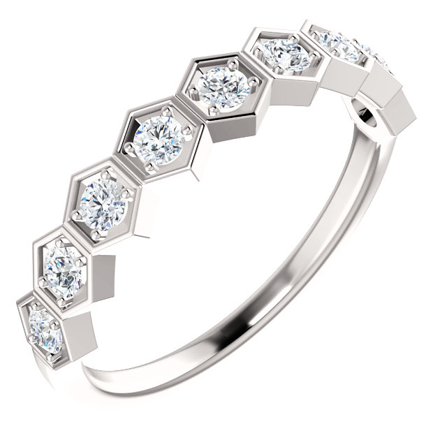 Surprise Her with  14 Karat White Gold 0.33 Carat Total Weight Diamond Stackable Ring