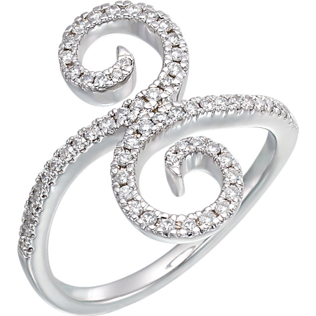 Must See 14 KT White Gold 0.33 Carat TW Diamond Swirl Ring