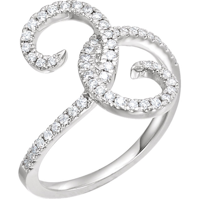 Low Price on 14 KT White Gold 0.33 Carat TW Diamond Swirl Ring