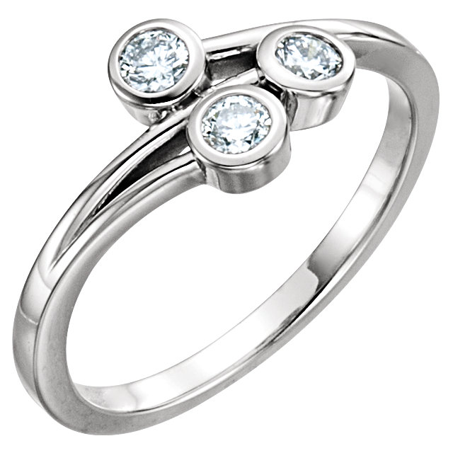 Deal on 14 KT White Gold 0.33 Carat TW Diamond Three-Stone Bezel-Set Ring