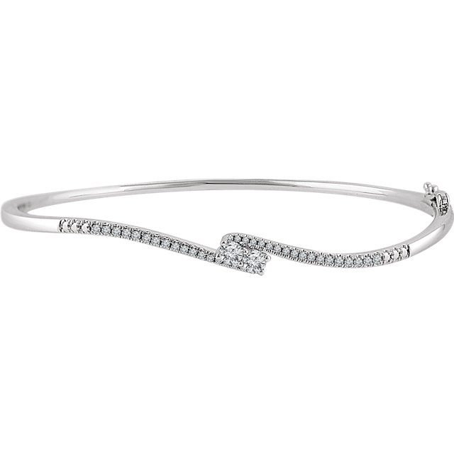 Spectacular 14 Karat White Gold 1/3 Carat Total Weight Round Genuine Diamond Two-Stone Accented Bangle 7