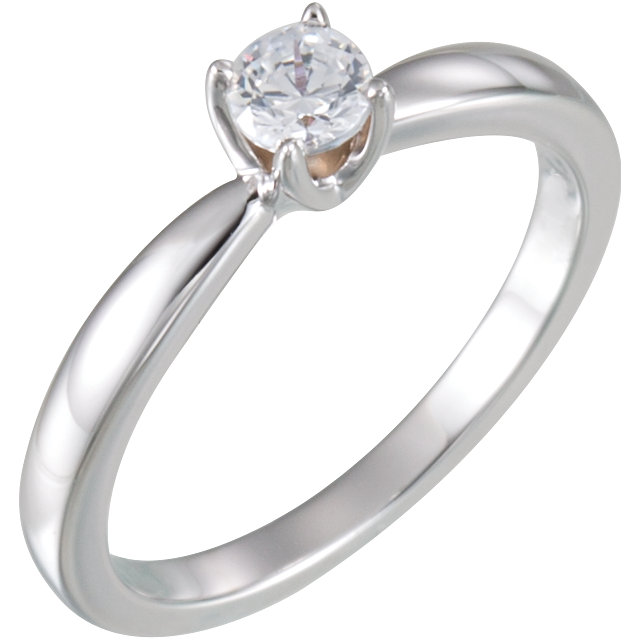 Very Nice 14 Karat White Gold 0.33 Carat Total Weight Round Solitaire Engagement Ring