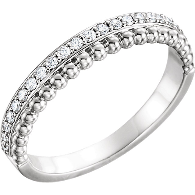 Appealing Jewelry in 14 Karat White Gold 0.25 Carat Total Weight Diamond Beaded Ring