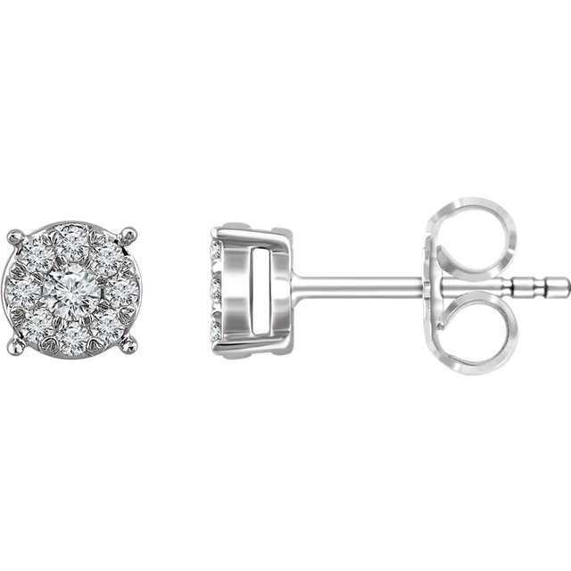 Gorgeous 14 Karat White Gold 0.25 Carat Total Weight Diamond Cluster Stud Earrings