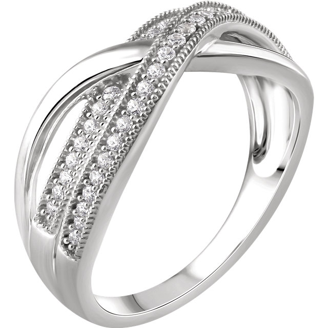 Shop 14 Karat White Gold 0.25 Carat Diamond Criss-Cross Ring