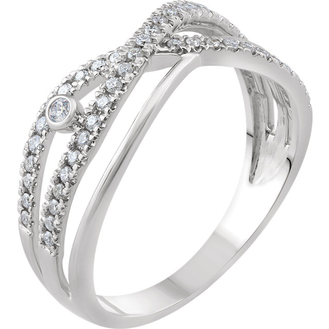 Low Price on Quality 14 KT White Gold 0.25 Carat TW Diamond Criss-Cross Ring