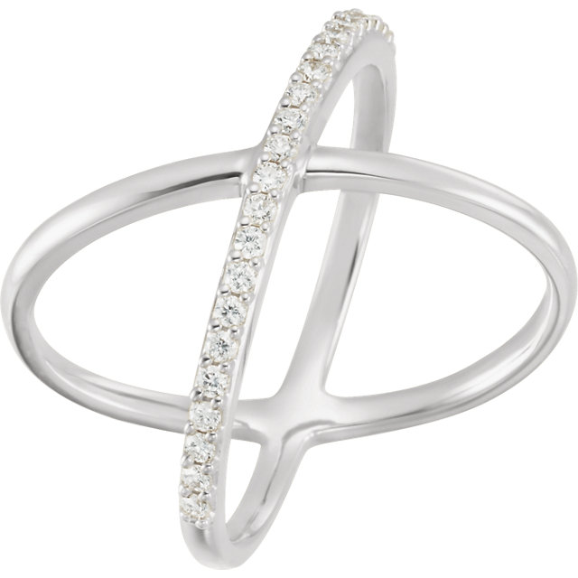 White Diamond Ring in 14 Karat White Gold 1/4 Carat Round Diamond Criss-Cross Ring