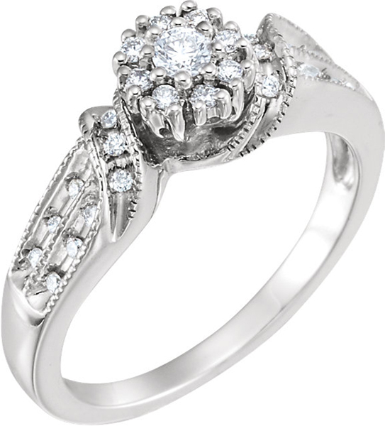 14 Karat White Gold 1/4 Carat Total Weight Diamond Engagement Ring