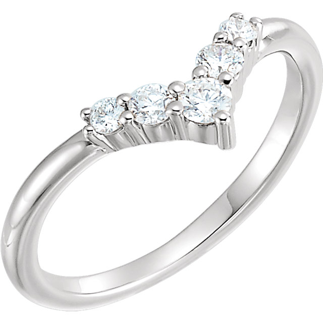 Appealing Jewelry in 14 Karat White Gold 0.25 Carat Total Weight Diamond Graduated