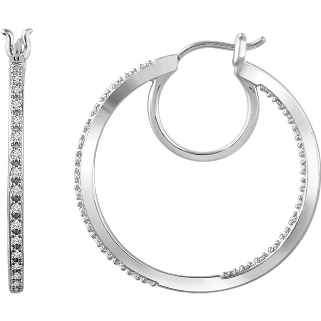 Perfect Jewelry Gift 14 Karat White Gold 0.25 Carat Total Weight Diamond Hoop Earrings