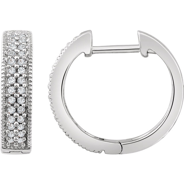 Attractive 14 Karat White Gold 1/4 Carat Total Weight Diamond Hoop Earrings