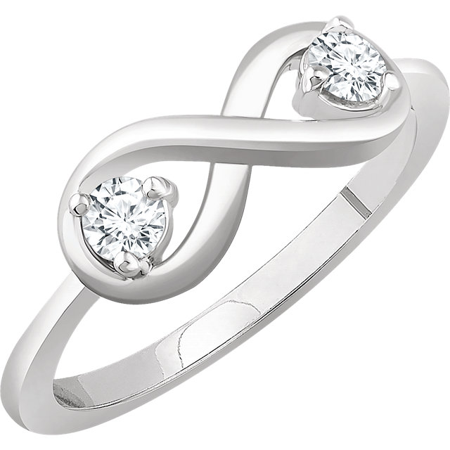 Genuine  14 KT White Gold 0.25 Carat TW Diamond Infinity-Inspired Ring