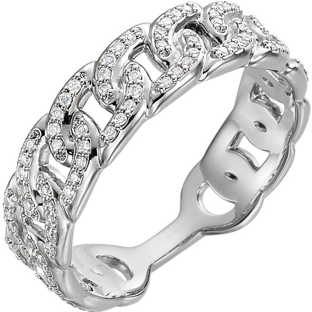 Genuine 14 KT White Gold 0.25 Carat TW Diamond Interlocking Stackable Link Ring