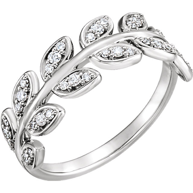 Buy Real 14 KT White Gold 0.25 Carat TW Diamond Leaf Ring