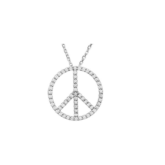 Genuine  14 Karat White Gold 0.25 Carat Diamond Peace Sign 16