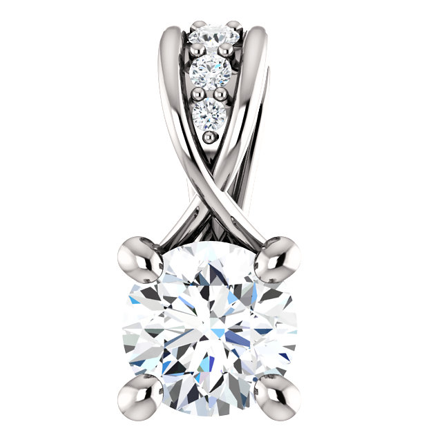 14 Karat White Gold 0.25 Carat Diamond Pendant