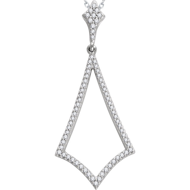 Genuine 14 Karat White Gold 0.25 Carat Diamond Pendant