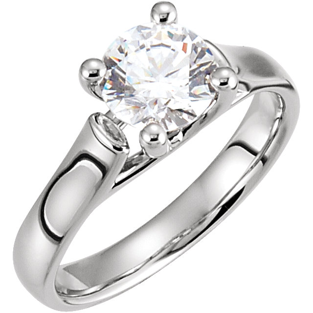 White Diamond Ring in 14 Karat White Gold 0.25 Carat Diamond Round Solitaire Engagement Ring
