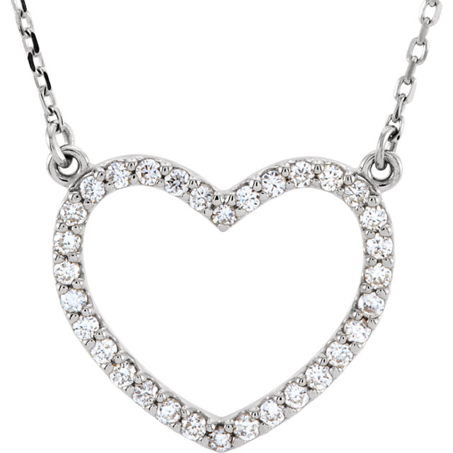 Great Deal in 14 Karat White Gold 0.25 Carat Total Weight Diamond Small Heart 16