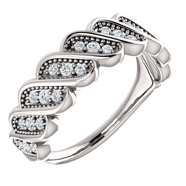Easy Gift in 14 Karat White Gold 0.25 Carat Total Weight Diamond Stackable Ring