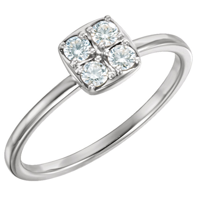 Contemporary 14 Karat White Gold 0.25 Carat Total Weight Diamond Stackable Ring