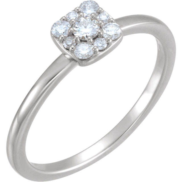 Trendy 14 Karat White Gold 0.25 Carat Total Weight Round Genuine Diamond Stackable Square Cluster Ring