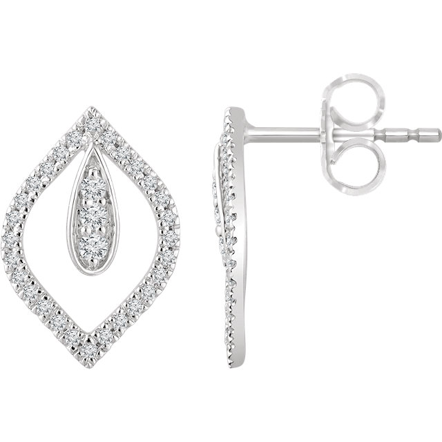 Surprise Her with  14 Karat White Gold 0.25 Carat Total Weight Diamond Teardrop Earrings