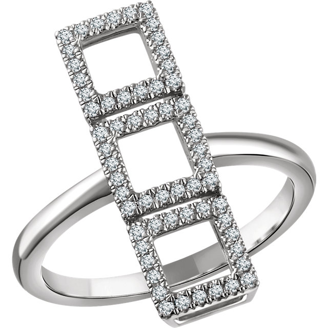 Must See 14 KT White Gold 0.25 Carat TW Diamond Triple Square Ring