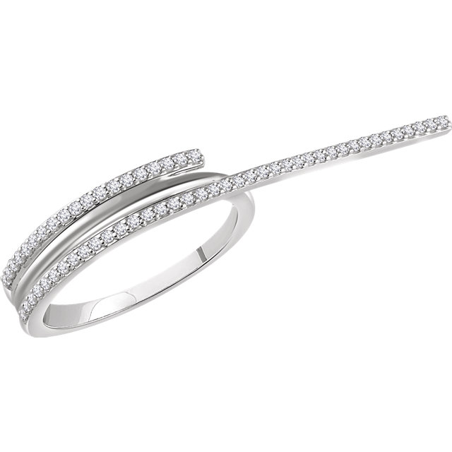Shop Real 14 KT White Gold 0.25 Carat TW Diamond Two-Finger Ring